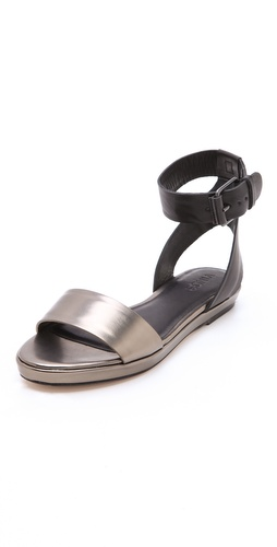Shop Vince Abbey Metallic Flat Sandals and Vince online - Footwear,Womens,Footwear,Sandals, online Store