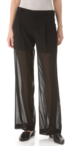 Shop Vince Sheer Silk Trousers and Vince online - Apparel,Womens,Bottoms,Pants,Trousers, online Store