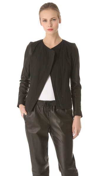 Vince Leather Sleeve Linen Jacket
