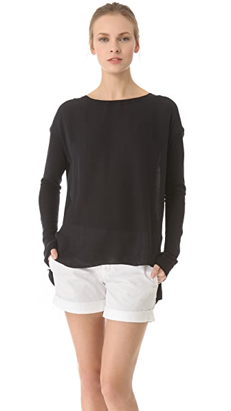 Vince Silk Knit Combo Pullover