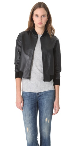 Vince Bi Tone Leather Jacket