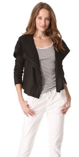 Vince Hooded Leather Crop Jacket