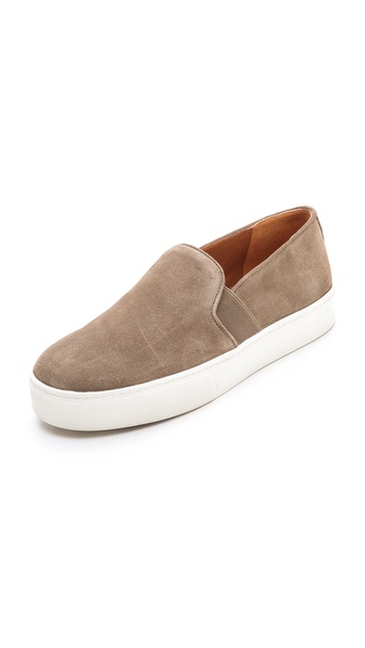 Shop Vince online and buy Vince Blair Slip On Sneakers - Flint - Casual suede Vince sneakers offer an updated take on a streetwear classic. Inset elastic panels lend a comfortable fit. Leather lined at heel and toe. Rubber sole. Leather: Cowhide. Imported, China. This item cannot be gift boxed. Available sizes: 5,6,6.5,7,7.5,8.5,9,9.5,10,11