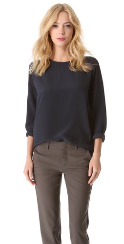 Vince Sheer Trim Silk Blouse at Shopbop / East Dane