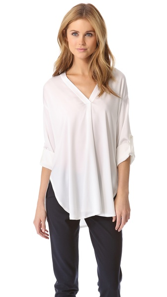Vince Trapunto Double V Neck Top