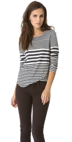 Vince Variegated Stripe Shirttail Tee at Shopbop / East Dane