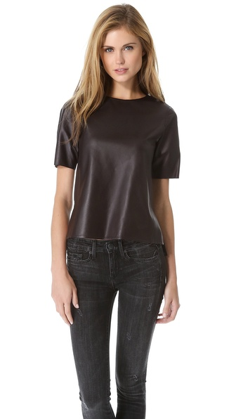 Vince Hi Lo Leather Top