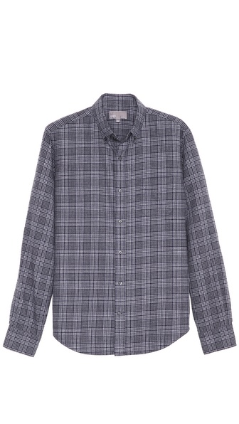 Vince Brushed Cotton Plaid Sport Shirt