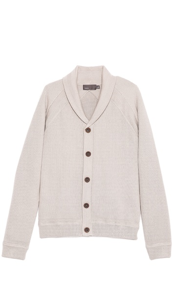Vince Crepe Cotton Shawl Collar Cardigan