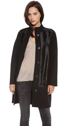 Vince Calf Hair Inset Wool Coat at Shopbop / East Dane