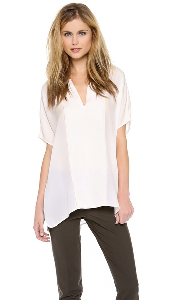 Vince Double Panel V Neck Blouse