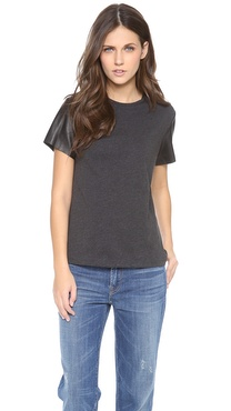Vince Leather Sleeve Tee