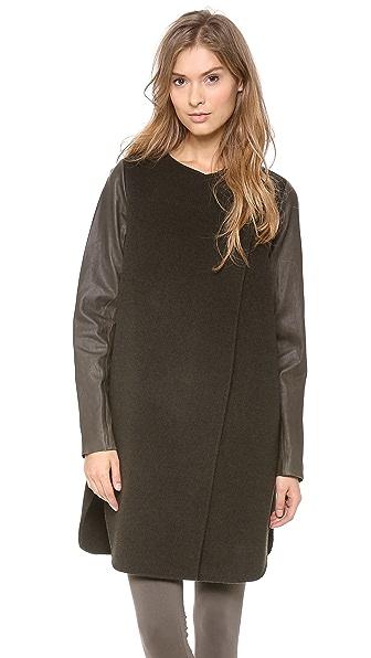 Vince Leather Sleeve Wool Coat