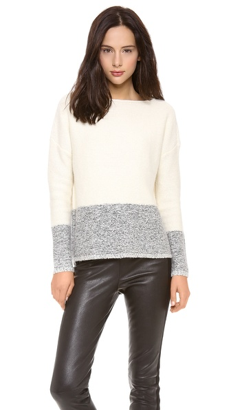 Vince Boatneck Colorblock Tweed Sweater
