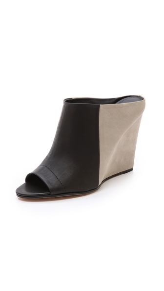 Vince Karin Colorblock Mules - Black/Woodsmoke at Shopbop / East Dane