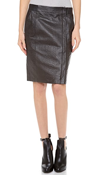 Vince Snake Embossed Pencil Skirt