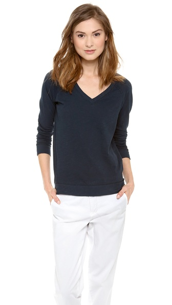 Vince Long Sleeve V Neck Tee