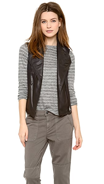 Vince Asymmetrical Vest with Leather