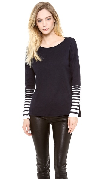 Vince Placement Stripe Slub Sweater