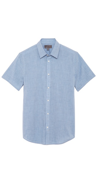 Vince Short Sleeve Cotton Chambray Button Up
