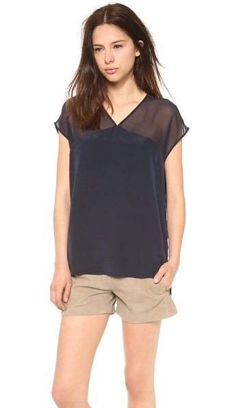 Vince Sheer Yoke Cap Sleeve Tee