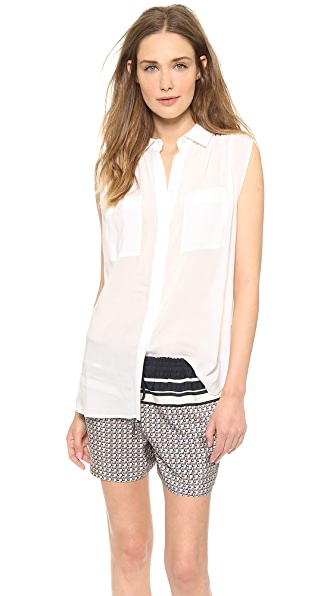 Vince Sleeveless Button Up Shirt