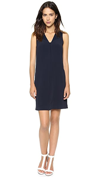 Vince V Neck Matte & Shine Dress