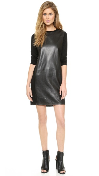Vince Leather Panel Dress