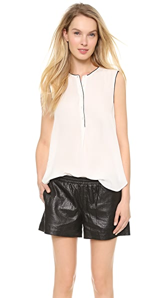 Vince Color Tipped Sleeveless Blouse