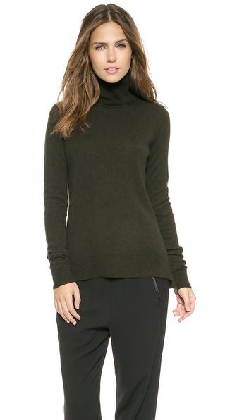 Vince Overlay Cashmere Turtleneck Sweater