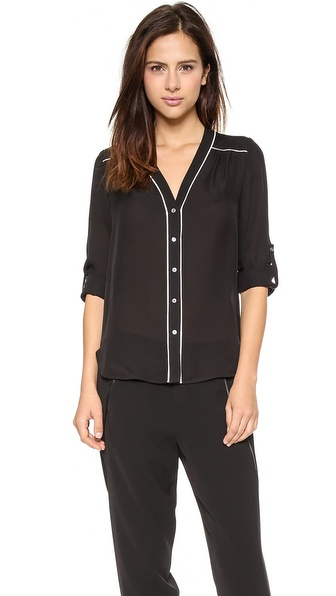 Vince Contrast Piping Blouse