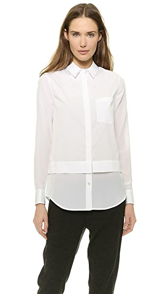 Vince Vince Mixed Media Button Up Shirt (White)