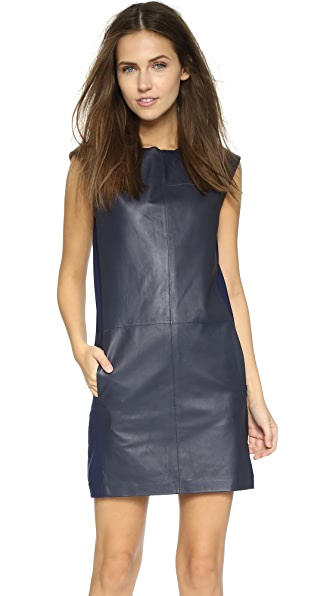 Shop Vince online and buy Vince Leather Block Shift Dress Blue Marine dresses online