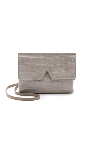 Vince Croc Embossed Cross Body Bag - New Stone