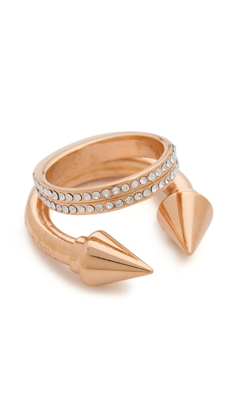 Vita Fede Titan Plain Double Crystal Band Ring