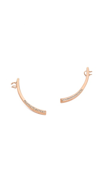 Vita Fede Half Moon Half Crystal Earrings