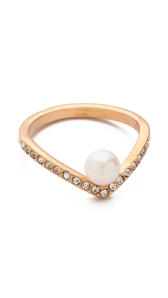 Vita Fede Ultra Mini V Pearl & Crystal Ring
