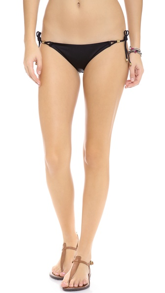 Shop Vitamin A online and buy Vitamin A Gwenyth Tie Side Bikini Bottoms Black - Braided ropes close the sides of these Vitamin A bikini bottoms. Ruching in back. Lined. 93% nylon/17% lycra spandex. Hand wash. Made in the USA. Available sizes: L,M,S