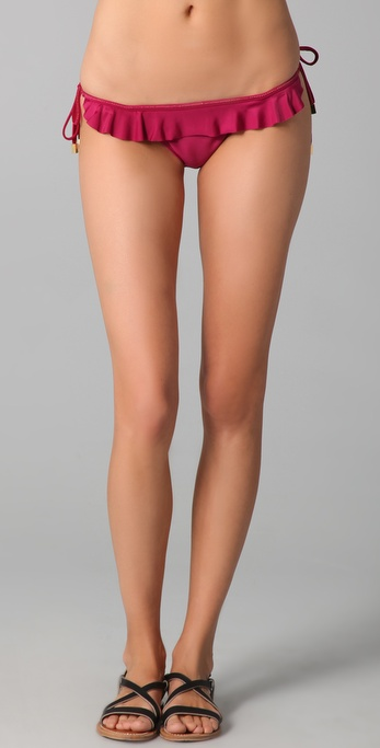 Vix Swimwear Solid Tie Ruffle Bikini Bottoms
