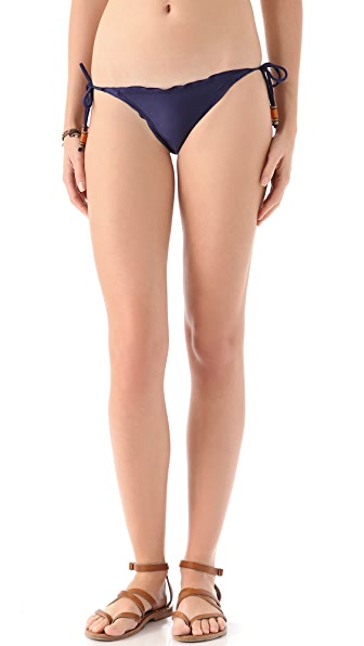 ViX Swimwear Solid Navy Tie Side Bikini Bottoms