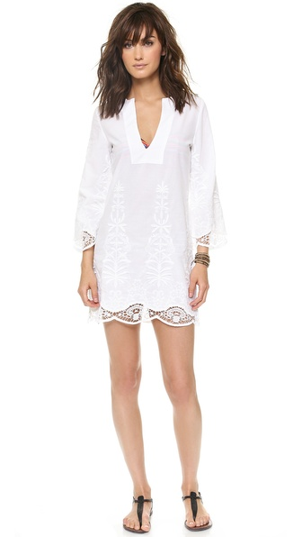 Vix Swimwear Solid White Flower Tunic
