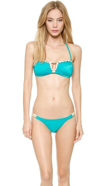 Vix Swimwear Solid Turquoise Pyramid Bandeau Bikini Top