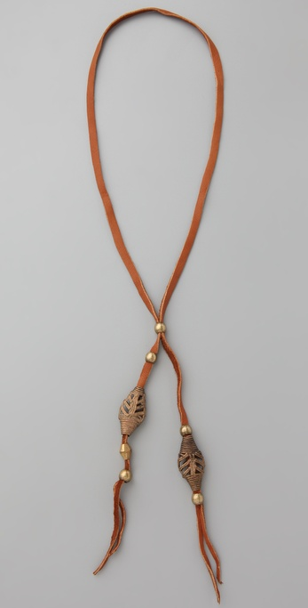 Vanessa Mooney Ayasha Woven Bead Leather Necklace