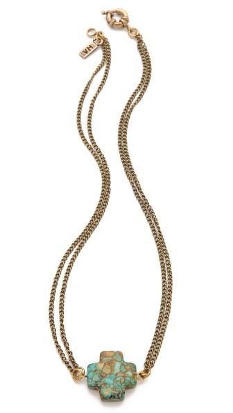 Vanessa Mooney Mosaic Cross Necklace