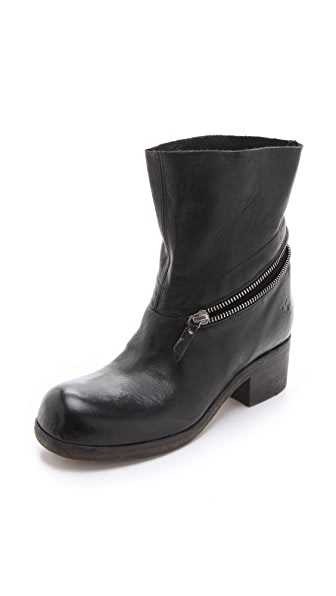 Vic Matie Zipper Booties with Mesh Inset