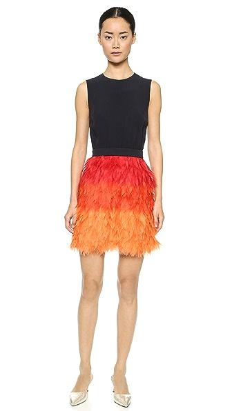 Shop Victoria Victoria Beckham online and buy Victoria Victoria Beckham Frayed Skirt Mini Dress - Navy/Hot Red/Orange dress online