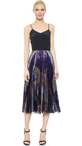 Плиссированное миди-платье с лифом в виде майки Victoria Beckham