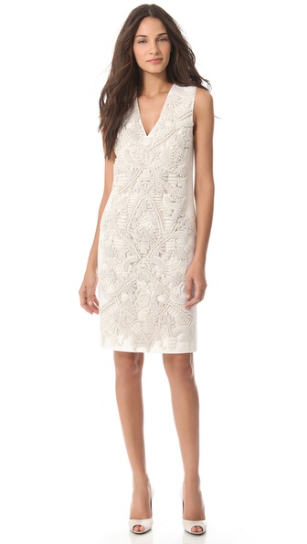 Vera Wang Collection Soutache Embroidered Dress