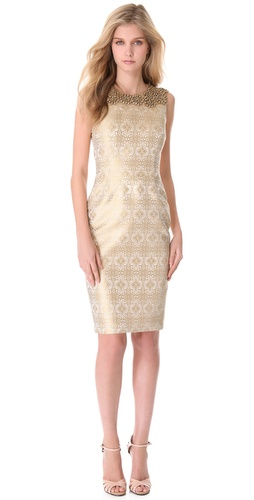 Shop Vera Wang Collection Jeweled Yoke Sheath Dress - Vera Wang Collection online - Apparel,Womens,Dresses,Cocktail,Night_Out, at Lilychic Australian Clothes Online Store