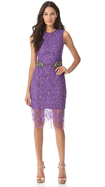 Vera Wang Collection Sheath Dress with Jeweled Waist
